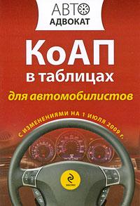КоАП для автомобилистов в таблицах с изм. на 1 июля 2009 г.