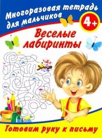 Веселые лабиринты. Готовим руку к письму. Многоразовая тетрадь для мальчиков 4+ Дмитриева В.Г.
