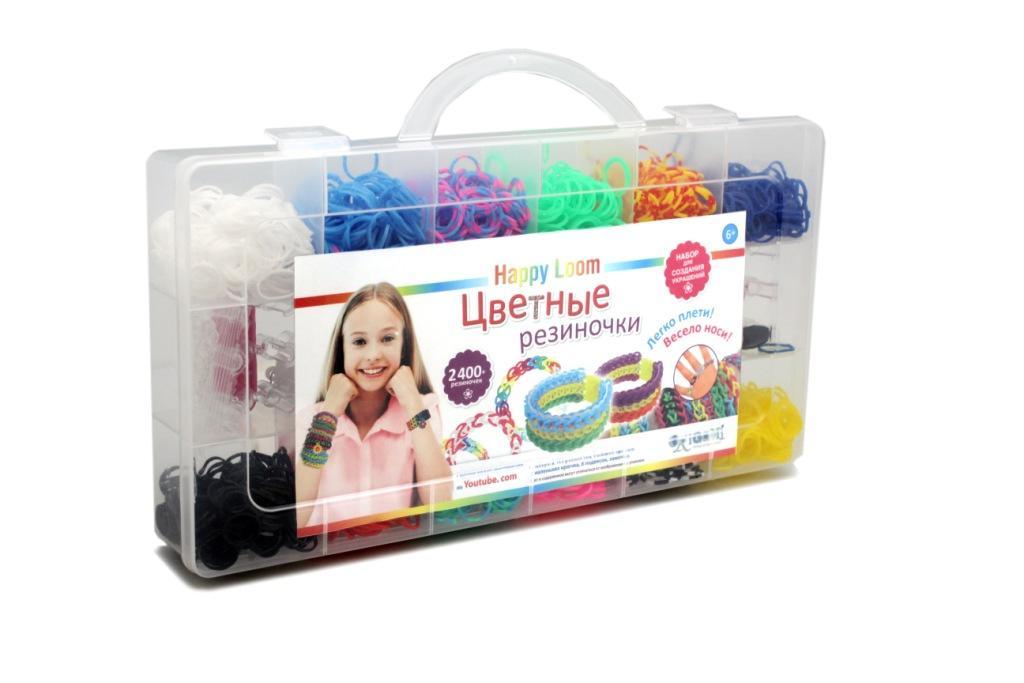 Happy Loom.Цветные резиночки. Набор в чемодане: 2400 рез., 3 крючка, зам-ки, подвески, инструкция. арт. 01780
