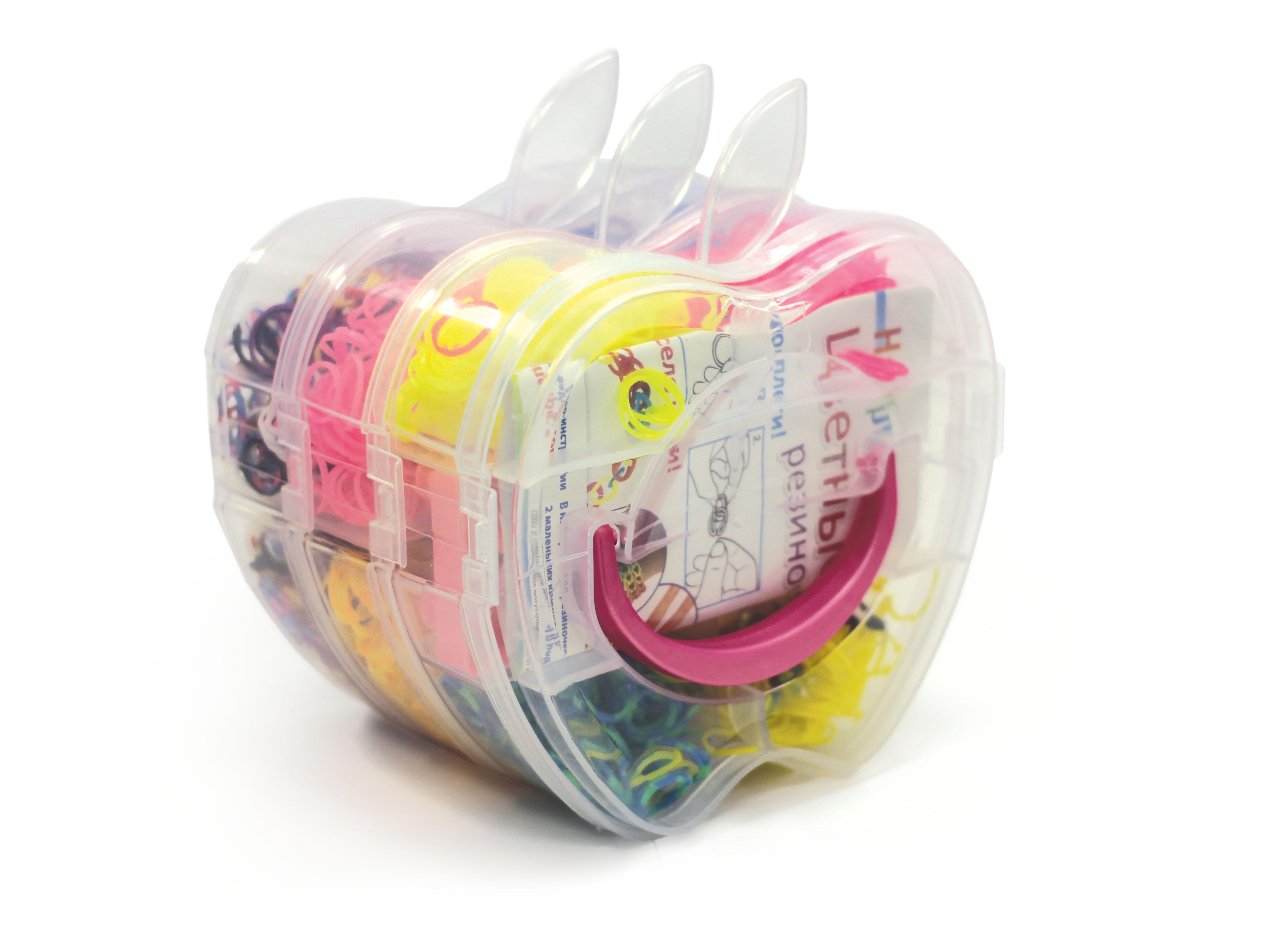 Happy Loom.Цветные резиночки. Набор Яблоко в чемодане: 2800 рез., станок д\плетения, 2 крючка, зам-ки, подвески, инструкция. арт. 01784