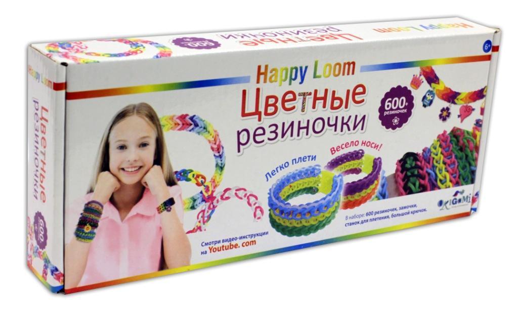 Happy Loom.Цветные резиночки. Набор в коробке: 600 рез., станок д\плетения, крючок, зам-ки. арт. 01785