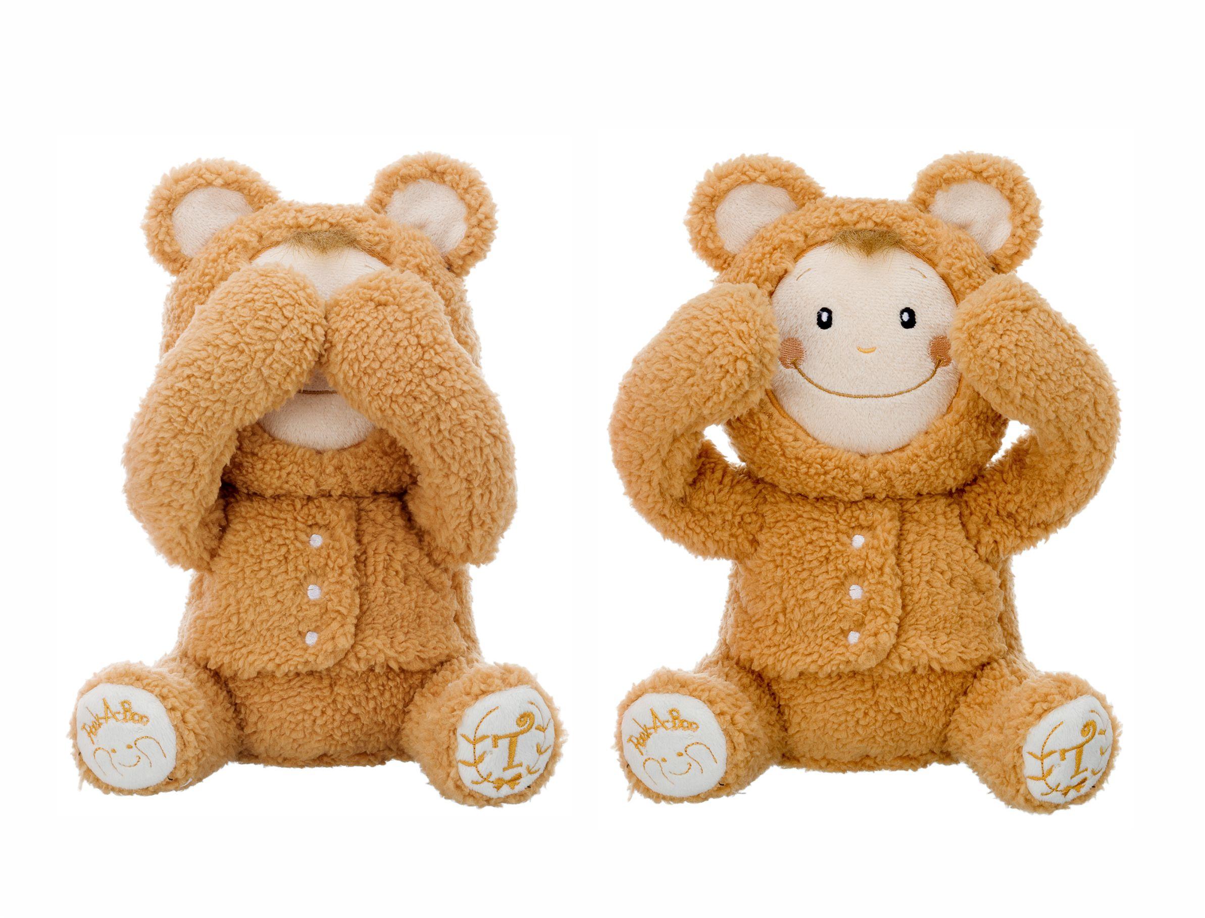 I.C.Peek-a-boo Игрушка-повторюшка Медвежонок, играет в Ку-ку, закрывает глазки, смеется, арт.01732