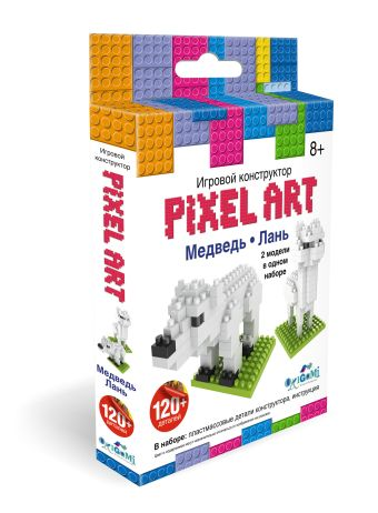 """К.PixelArt™ Конструктор 3D-пиксели 2 в 1 """"Медведь/Лань"""" арт. 02308 нн"""