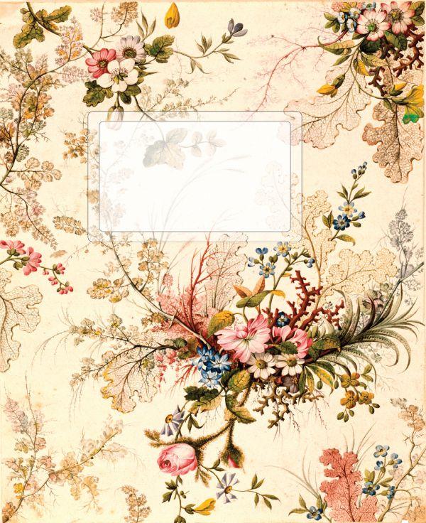 Тетрадь без разлиновки. Винтажные цветы