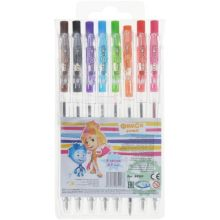 - Набор ФИКСИКИ 8  цветных ручек шариковых автоматических 0,7 мм, в ПВХ упаковке с подвесом обложка книги