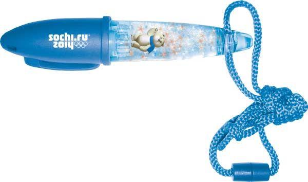 Ручка с подсветкой и плавающим элементом на шнурке. Размер 14 х 3 см. Сочи-2014