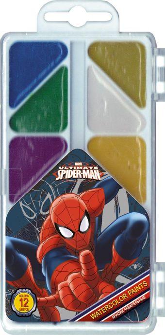 Краски акварельные (медовые), 12 цветов. Упаковка - пластиковая коробка с прозрачной крышкой, стикер - 4+0. Размер 18 х 8 х 1,2 см Spider-man Classic