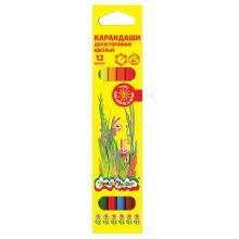 - Набор цветн.каранд Каляка-Маляка 6 шт 12 цв. шестигранные с заточкой двусторонние обложка книги