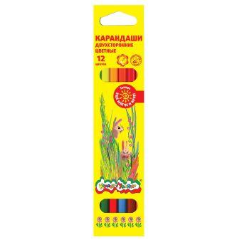 Набор цветн.каранд Каляка-Маляка 6 шт 12 цв. шестигранные с заточкой двусторонние
