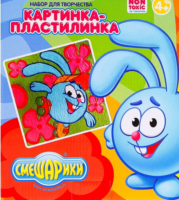 Картинка-пластилинка СМЕШАРИКИ (Крош), в наборе: пластилин 10 цветов, стек, картинка 18,5*5*22,5 см