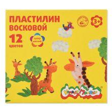 - Пластилин восковой Каляка-Маляка 12 цв.180,г стек обложка книги