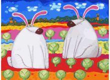 - Живопись на холсте. Размер 30*40 см.. Весёлые зайцы (774-AS ) обложка книги