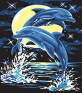 Живопись на холсте. Размер 30*40 см.. Дельфины (204-CE )