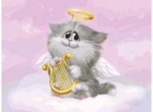 - Живопись на холсте. Размер 30*40 см.. Котёнок-ангелочек (744-AS ) обложка книги
