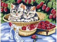 - Живопись на холсте. Размер 30*40 см.. Котята в саду (013-CE ) обложка книги