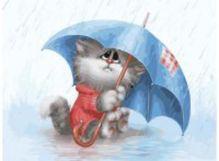 - Живопись на холсте. Размер 30*40 см.. Кошарик под дождём (738-AS ) обложка книги