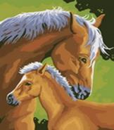 - Живопись на холсте. Размер 30*40 см.. Лошадь и жеребенок (207-CE ) обложка книги