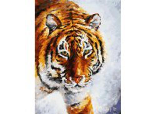 Живопись на холсте. Размер 30*40 см.. Тигр на снегу (780-AS )