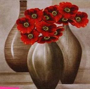 Наборы для вышивания в формате 3D. Красные цветы (7019-3D )