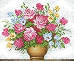 Наборы для вышивания с водорастворимым рисунком на канве. Букет (7520-РК )