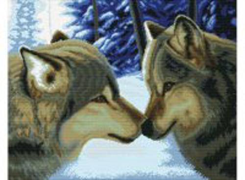 Наборы для вышивания с водорастворимым рисунком на канве. Два волка (7560-РК )