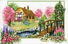 Наборы для вышивания с водорастворимым рисунком на канве. Деревенский мостик (7570-РК )