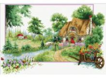 Наборы для вышивания с водорастворимым рисунком на канве. Деревня (7571-РК )