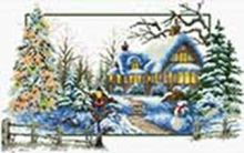 Наборы для вышивания с водорастворимым рисунком на канве. Заснеженный дом (7573-РК )