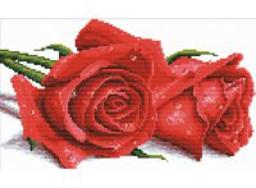 Наборы для вышивания с водорастворимым рисунком на канве. Красные розы (7530-РК )