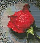 Наборы для вышивания с водорастворимым рисунком на канве. Красный бутон (7505-РК )