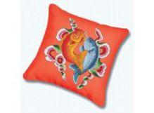 Наборы для вышивания. Подушка 160 Цветные рыбы (канва красная)