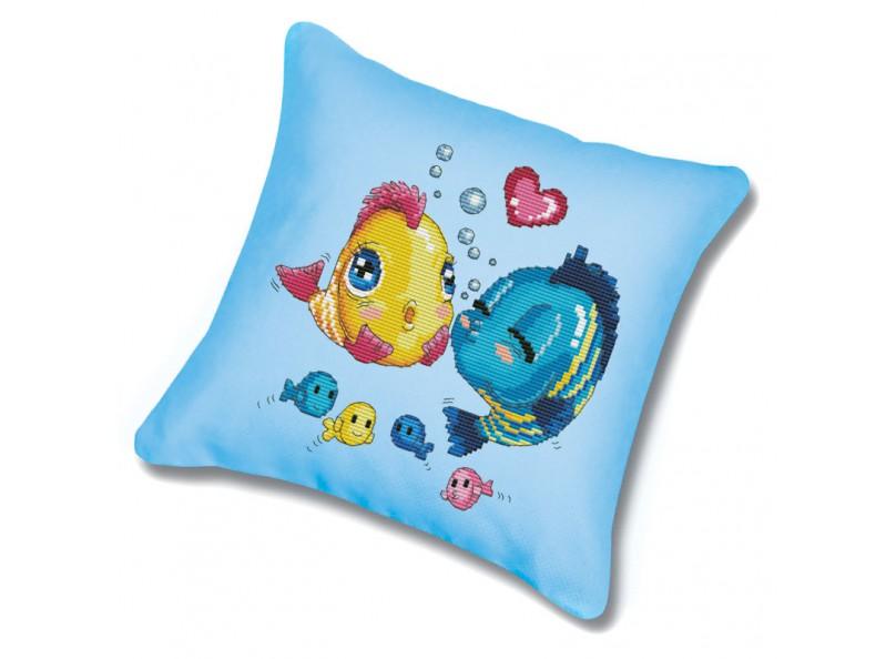 Наборы для вышивания. Подушка 368 Волнение (канва голубая)