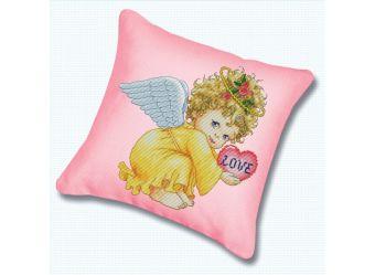 Наборы для вышивания. Подушка 800 Маленький ангел (канва розовая)