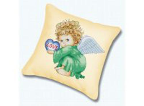 Наборы для вышивания. Подушка 802 Милый ангел (канва бежевая)