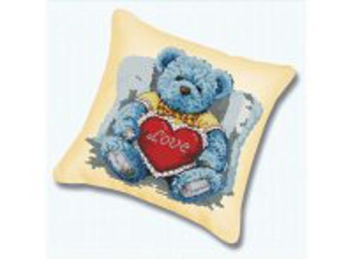 Наборы для вышивания. Подушка 920 Медвежонок с сердцем (канва бежевая)
