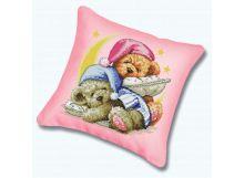 - Наборы для вышивания. Подушка 989 Два медвежонка (канва бежевая) обложка книги
