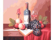 - Живопись на холсте.Размер 40*50 см.. Натюрморт с вином (310-CG ) обложка книги