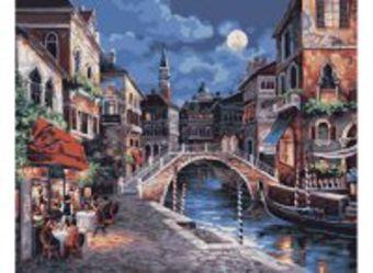 Живопись на холсте.Размер 40*50 см.. Ночная Венеция (350-CG )