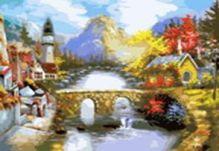 - Живопись на холсте.Размер 40*50 см.. Мост через реку (501-CG ) обложка книги