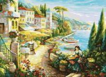 - Живопись на холсте.Размер 40*50 см.. Итальянский городок (528-CG ) обложка книги