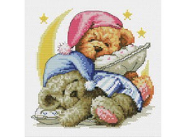Наборы для вышивания с водорастворимым рисунком на канве. Два медвежонка (7545-PK )