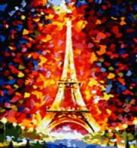 Живопись на холсте.Размер 40*50 см.. Париж - огни Эйфелевой башни (862-AB )