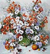 Живопись на цветном холсте 40*50 . Городские цветы (018-AB-C)