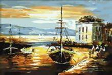 Живопись на цветном холсте 40*50 . Рыбацкий баркас (306-CG-C)