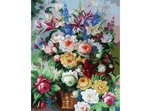 Живопись на цветном холсте 40*50 . Цветочная феерия (319-CG-C)