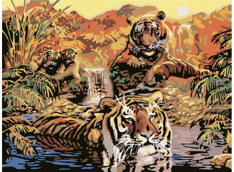 Живопись на цветном холсте 40*50 . Семья тигров (352-CG-C)