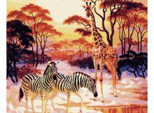 Живопись на цветном холсте 40*50 . В африканских прериях (513-CG-C)