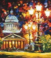 Живопись на цветном холсте 40*50 . Мерцание ночи Санкт-Петербурга (872-АВ-C)