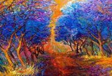Живопись на цветном холсте 40*50 . Осенний лес (885-АВ-C)