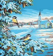 Живопись на холсте 40*50 см. Снежная зима (520-CG)